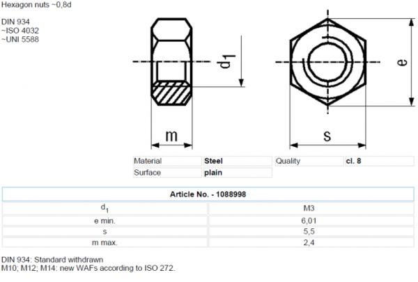 Set piulita otel 3mm (M3) (10 bucati) 1