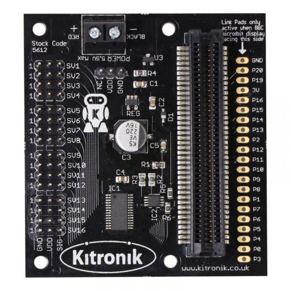 Placa driver servomotor Kitronik 16 pentru BBC micro:bit 2