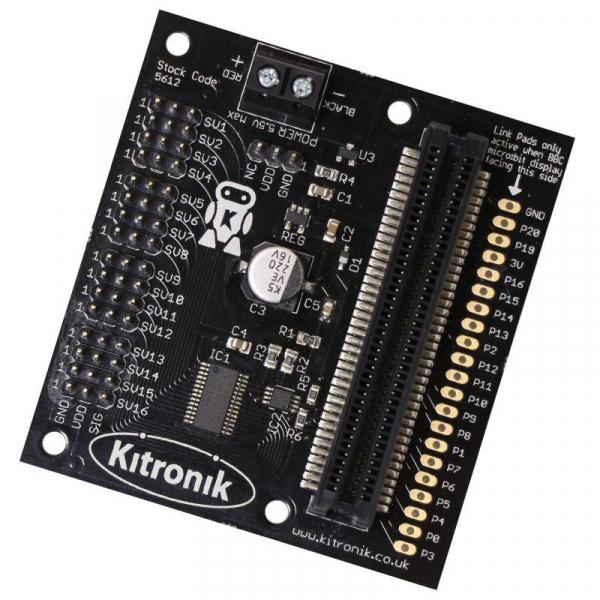 Placa driver servomotor Kitronik 16 pentru BBC micro:bit 0