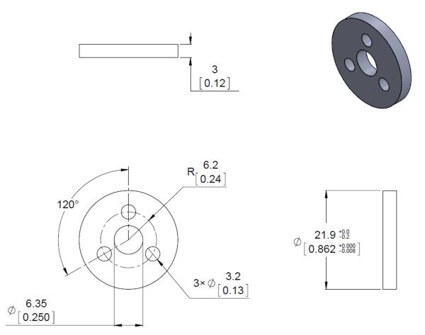 Conector roata (trotinete,role)  cu ax  4mm [5]