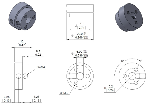 Conector roata (trotinete,role) cu ax 6mm 5