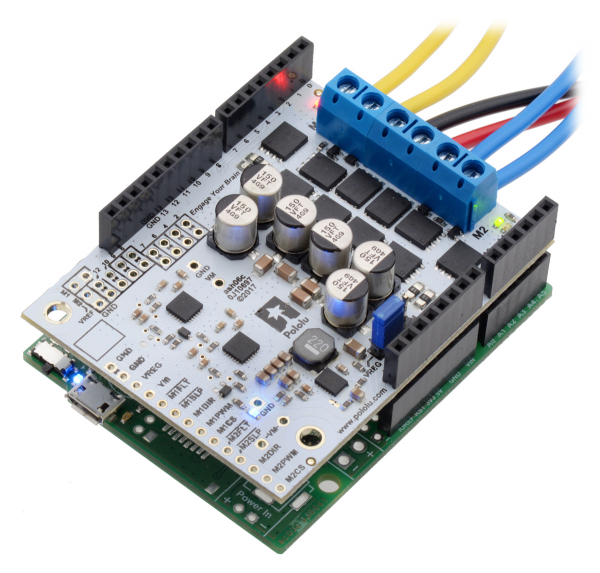 Pololu Dual G2 High-Power Motor Driver 18v22 Shield pentru Arduino 3