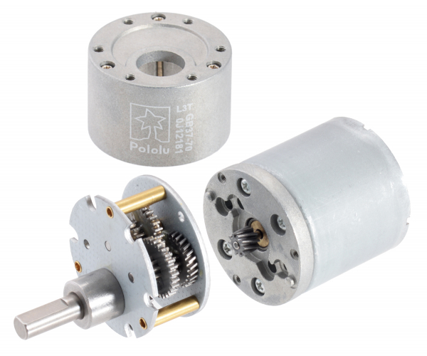 Pololu motor electric metalic, 131:1, 37Dx57L, 12V, pinion elicoidal 3