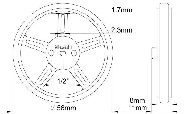 Roti Pololu Wheel 60×8mm Perechea - Galbene 2