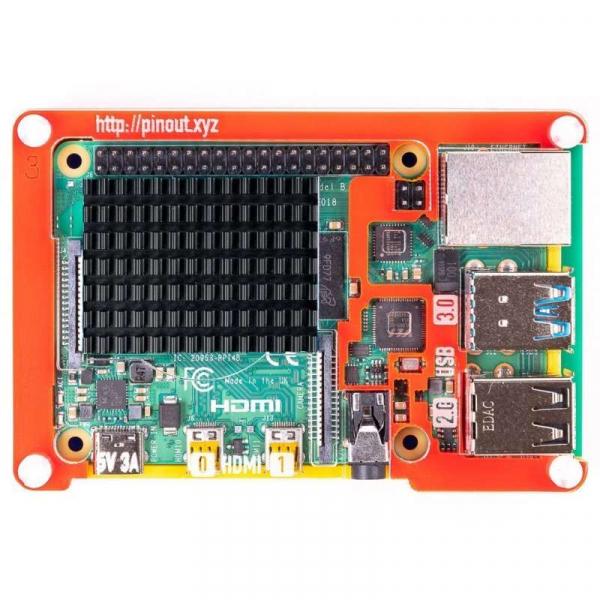 Radiator din aluminiu pentru Raspberry PI 4 - Negru - Pimoroni 1