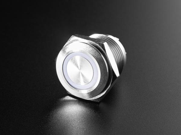 Buton metalic RGB cu mentinere cu protectie la intemperii - 16mm [0]