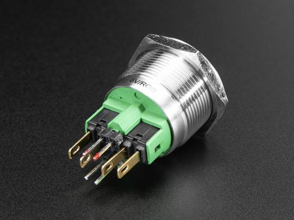 Buton RGB fara mentinere cu protectie la intemperii - 22mm 6V 1