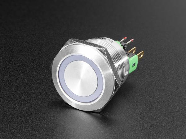 Buton RGB fara mentinere cu protectie la intemperii - 22mm 6V 0