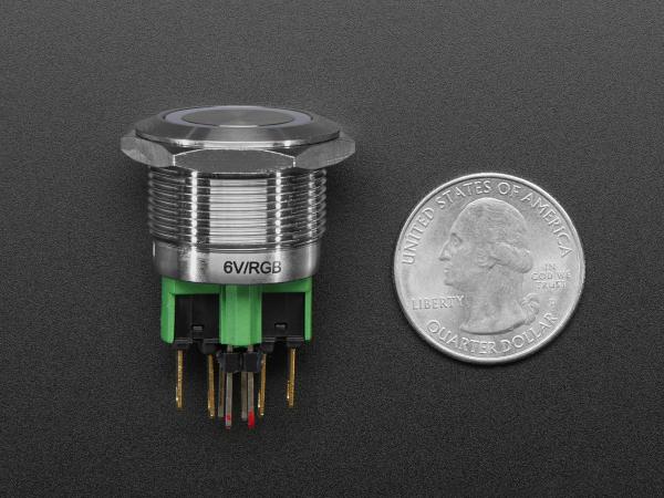 Buton RGB fara mentinere cu protectie la intemperii - 22mm 6V 3
