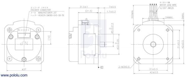 Sanyo Pancake Stepper Motor cu Encoder: Bipolar, 200 Steps/Rev,  42×31.5mm, 5.4V, 1 A/Faza, 4000 CPR 4