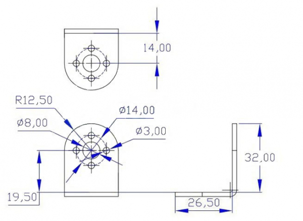 """Suport servomotor in forma de """"L"""" - argintiu 3"""