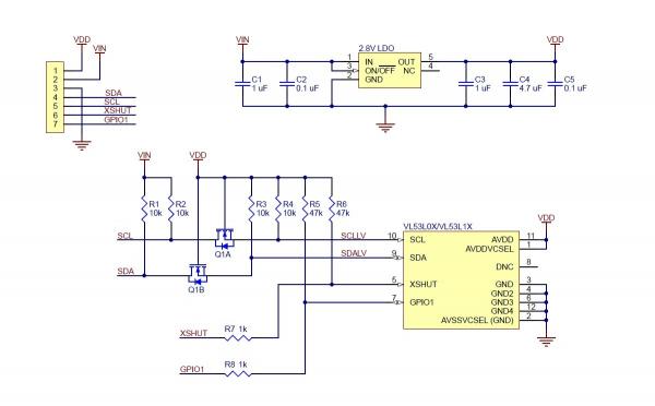 Senzor de distanta VL53L1X  ToF si regulator de tensiune, max 4m [5]