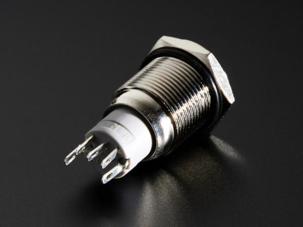 Buton metalic rosu fara mentinere cu protectie la intemperii - 16mm [2]