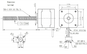 Motor Stepper NEMA 17 cu surub  Bipolar, 200 pasi, 42×38mm, 2.8V, 1.7 A/Faza1