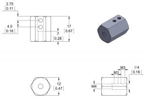Adaptor pentru ax de 4 mm la ax de 12mm hexagonal. Lungime 17 mm [2]