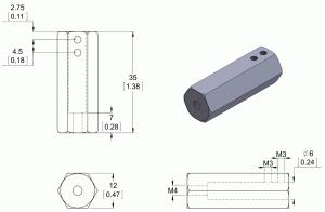 Adaptor pentru ax de 6mm la ax de 12mm. Lungime 35mm2