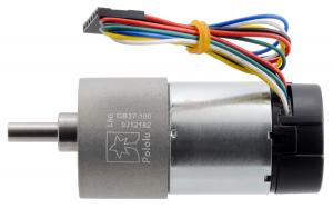 Pololu motor electric metalic 24V, 100:1, 37Dx73L, pinion elicoidal, encoder1