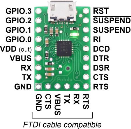Breakout adaptor USB-la-serial Pololu CP2102N2