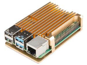 Carcasa radiator Pimoroni din aluminiu pentru Raspberry Pi 4 - Gold0