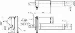 Actuator liniar cu LACT4P-12V-20 cu feedback  10.16cm Stroke, 12V, 1.27 cm/s4