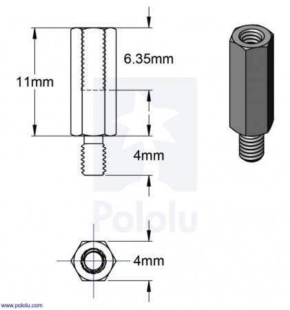 Distantiere din aluminiu pentru Raspberry Pi 11mm x 4mm M2.5 - 4 buc [3]