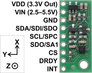 Magnetometru pe 3 Axe cu Regulator de tensiune - LIS2MDL2