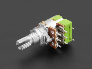 Potentiometru de 10K, liniar, dublu, cu montaj pe panou si comutator0