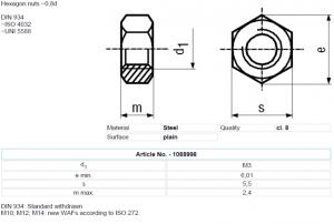 Set piulita otel 3mm (M3) (10 bucati)1