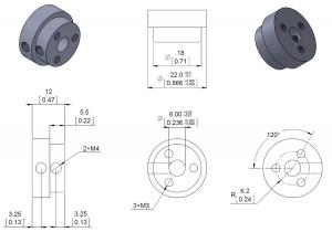 Conector roata (trotinete,role) cu ax 6mm5
