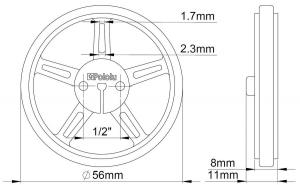 Roti Pololu Wheel 60×8mm Perechea - Galbene2