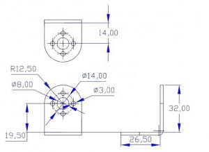 """Suport servomotor in forma de """"L"""" - Negru3"""