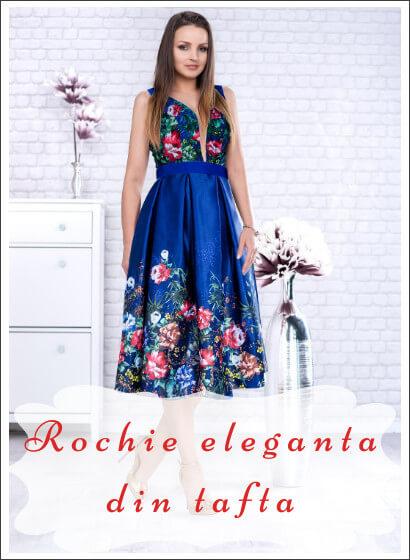 Rochie eleganta din tafta cu imprimeu floral Luana