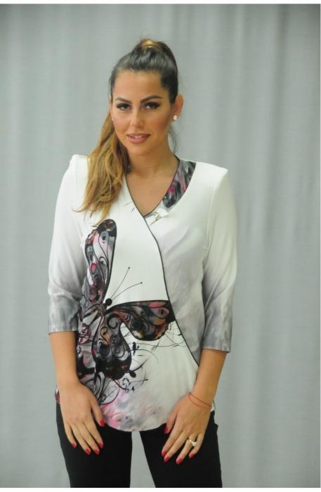 Bluze ieftine dama - Bluza cu imprimeu marimi mari Karina BLDI alb 0