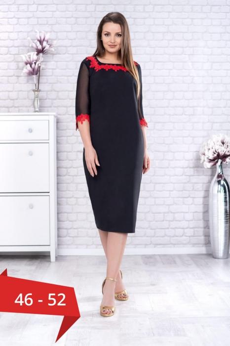 Rochie eleganta de zi neagra cu broderie rosie marimi mari Aurora 0