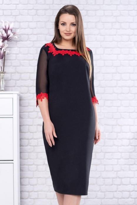 Rochie eleganta de zi neagra cu broderie rosie marimi mari Aurora 1