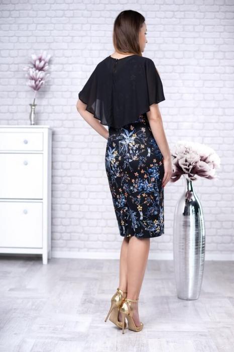 Rochii din bumbac - Rochie cu pelerina si imprimeu floral Linda negru 1