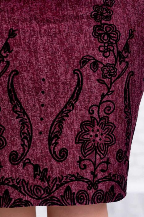 Rochii XXL - Rochie din tricot mov si catifea Agapia 3