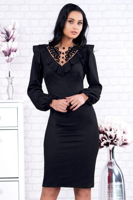 Rochii casual elegante - Rochie neagra de seara cu dantela Ambra 1