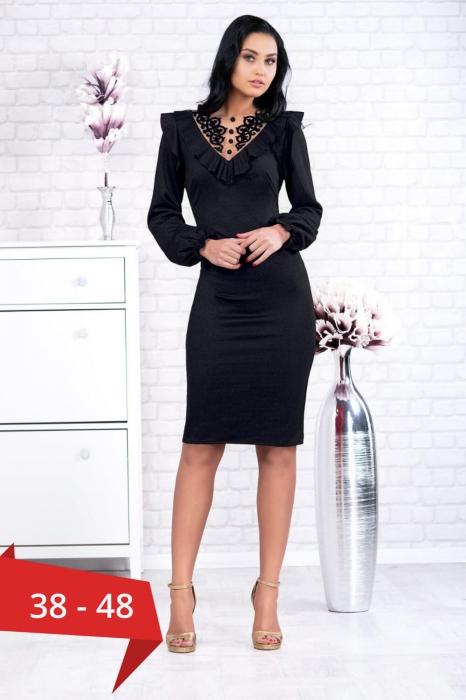 Rochii casual elegante - Rochie neagra de seara cu dantela Ambra 0