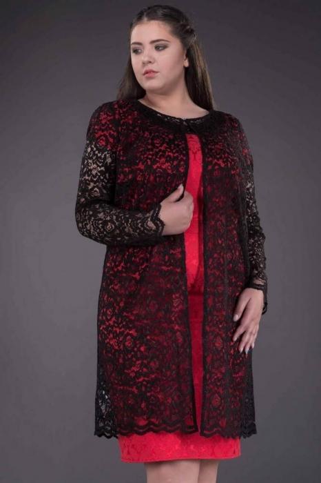 Blazer dama elegant din dantela neagra - Blazere elegante lungi 1