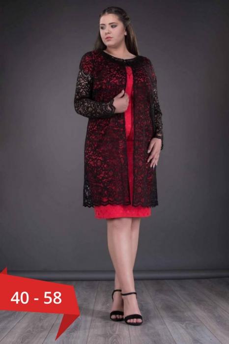 Blazere elegante dantela - Blazer dama lung din dantela Paula negru 0