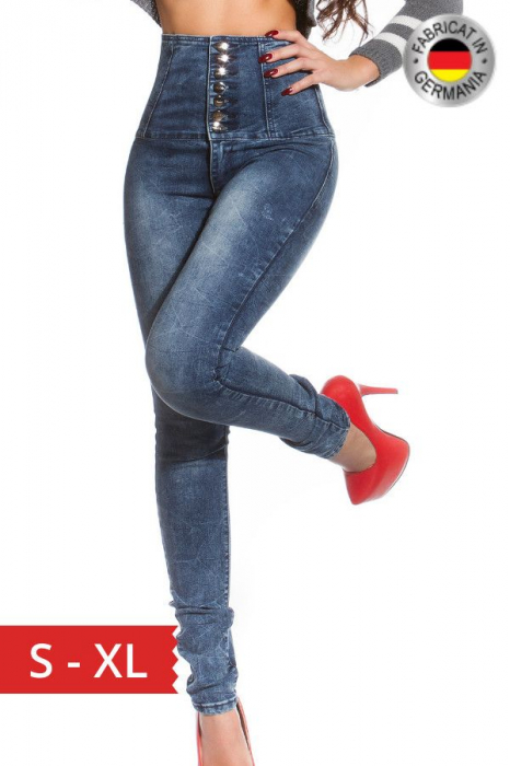 Blugi skinny cu talie inalta blue jeans Germania 0