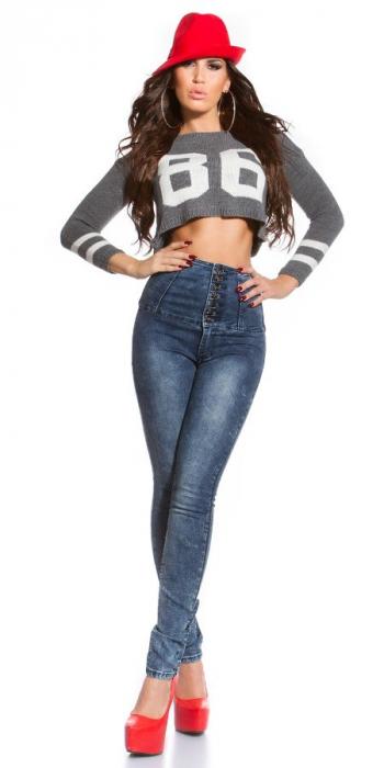 Blugi skinny cu talie inalta blue jeans Germania 4