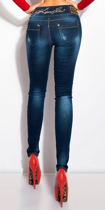 Blugi skinny cu talie inalta si accesorii blue jeans 1