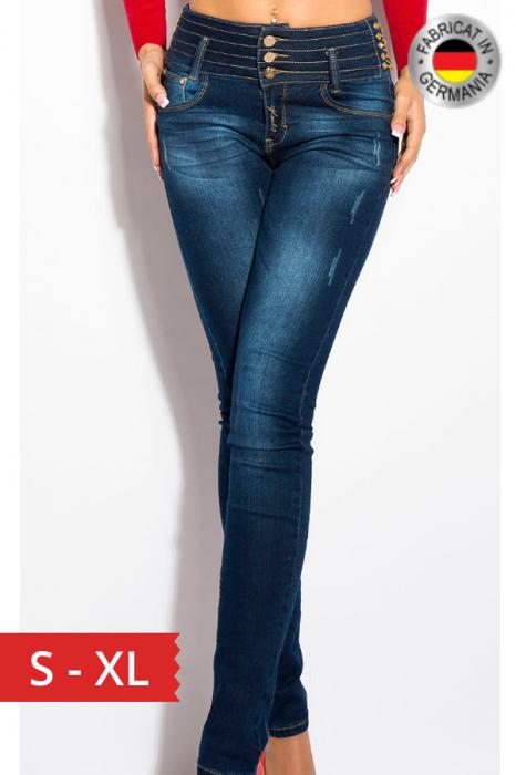 Blugi skinny cu talie inalta si accesorii blue jeans 0