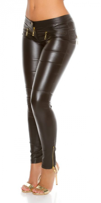Pantaloni negri cu aspect lucios de piele Germania [2]