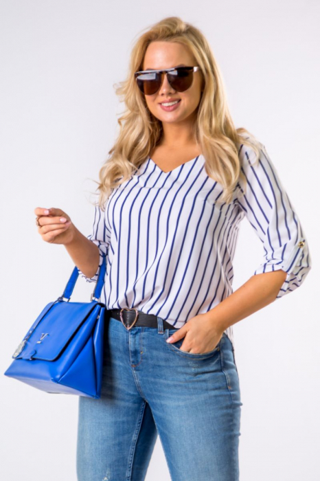Bluza alba cu dungi albastre si maneci reglabile - Marimi mari [0]