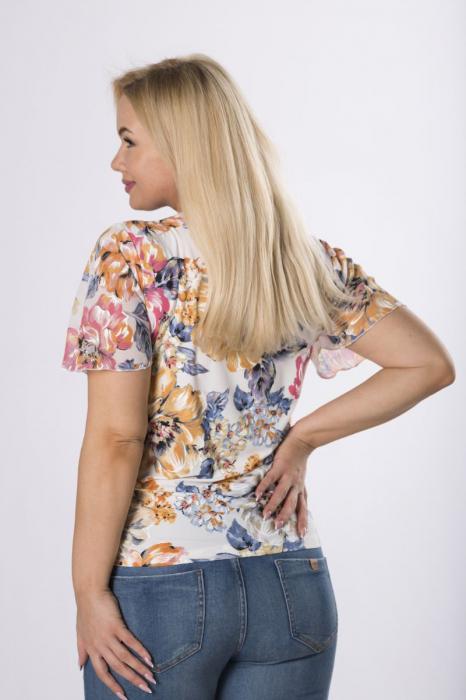 Bluza alba eleganta cu esarfa si imprimeu floral - Bluze Polonia [1]