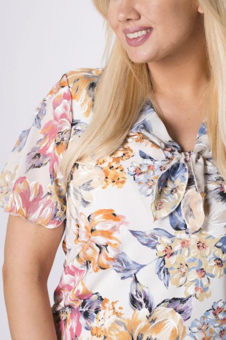 Bluza alba eleganta cu esarfa si imprimeu floral - Bluze Polonia [2]