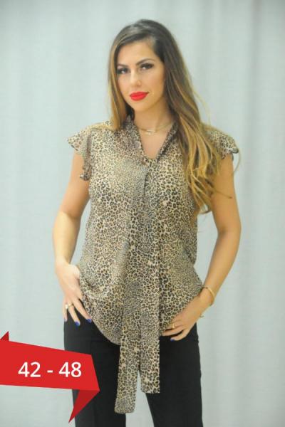 Bluza animal print cu esarfa Karina - Bluze dama ieftine elegante 0